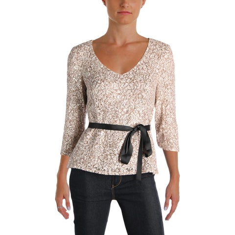 Alex Evenings Womens Petites Pullover Top Sequined V-Neck