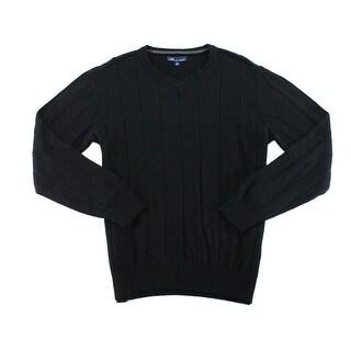 John Ashford NEW Black Deep Mens Size Small S V-Neck Striped Sweater