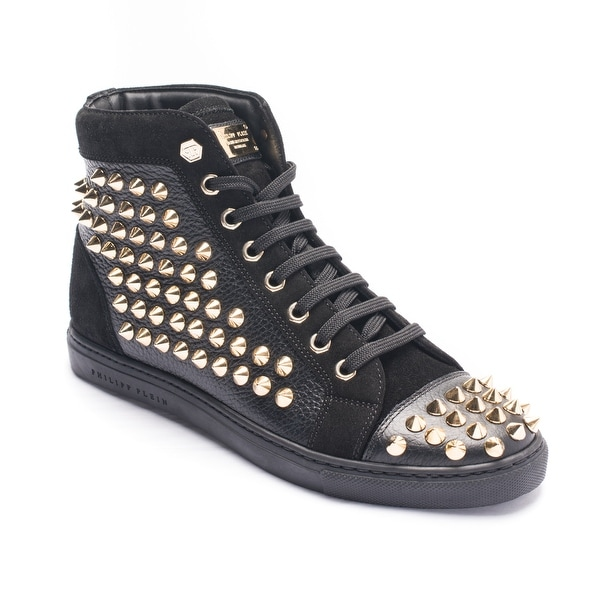 Philipp Plein Women's Gold Studded High Top Sneaker Shoes