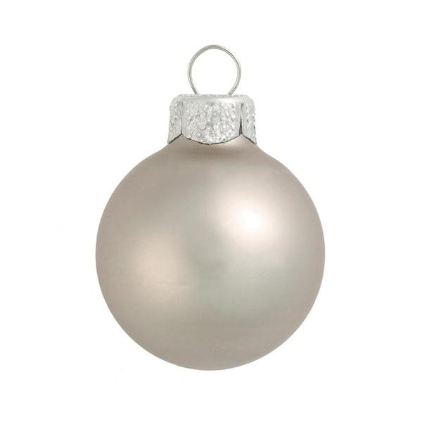 "40ct Matte Silver Smoke Glass Ball Christmas Ornaments 1.25"" (30mm)"
