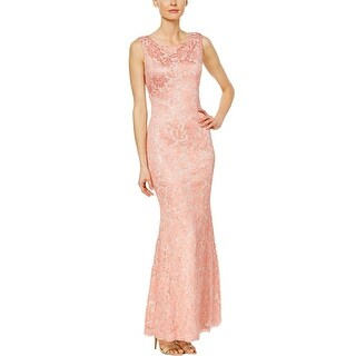 Calvin Klein Mesh Embroidered Mermaid Gown with Open Back Pink Coral 10