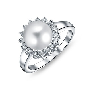 Bling Jewelry 925 Sterling Silver Freshwater Cultured Pearl Bridal CZ Halo Ring 9mm - White