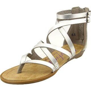 Blowfish Bungalow Women Open Toe Synthetic Silver Gladiator Sandal