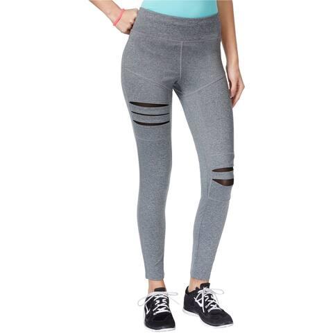 Jessica Simpson Womens Ripped Mesh-Trim Casual Leggings, grey, Medium