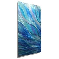 Statements2000 Silver / Blue Hand-Painted Metal Wall Art Painting Accent by Jon Allen - Glory