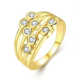 Eight Gold Crystal Jewels Line Ring