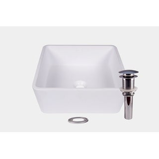 Gentil JANO Matte White Square Resin Vessel Bathroom Sink With Popup Drain