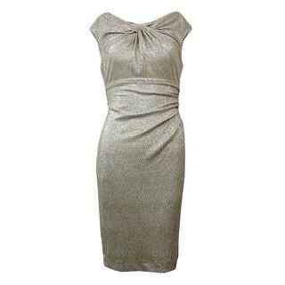 Lauren Ralph Lauren Women's Metallic Ruched Sheath Dress - White/Gold