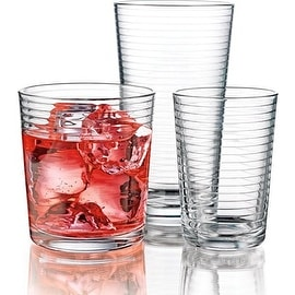 Palais Glassware Striped Collection; High Quality Striped Clear Glass Set