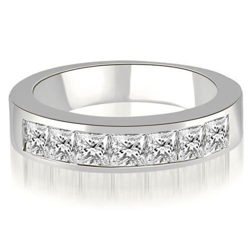 1.20 cttw. 14K White Gold Princess Diamond 7-Stone Channel Wedding Band