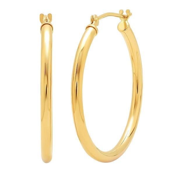 Amanda Rose 14K Yellow Gold 1 inch Hoop Earrings