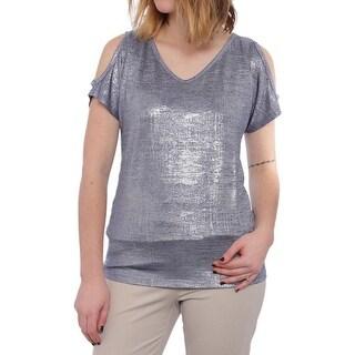 INC International Concepts Metallic Shimmer Shoulder Cut-out Top Women