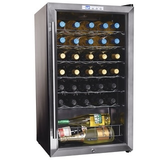 NewAir AWC-330E 33 Bottle Compressor Wine Cooler - stainless steel & black