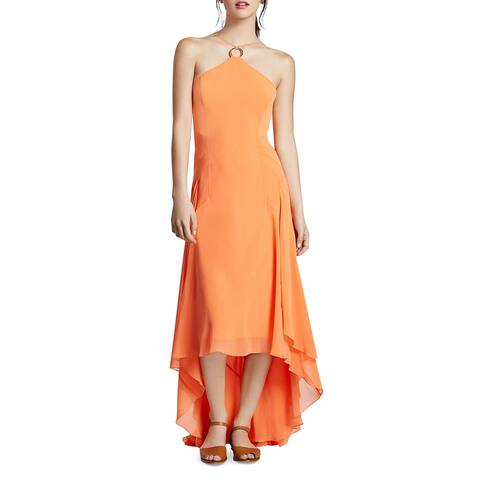 Halston Heritage Women's Georgette High-Low O-Ring Sleeveless Halter Gown - Mandarin