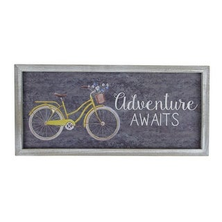 "15.5"" Vintage Yellow And White Bicycle With Flowers ""Adventure Awaits"" Wall Decoration"