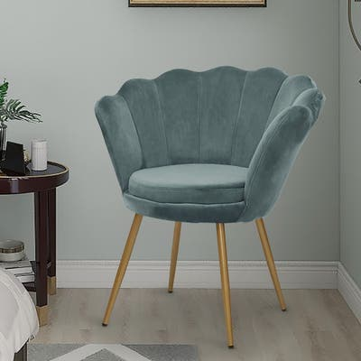 """Maypex Velvet Upholstered Accent Chair with Metal Legs - W26.4"""" x D26.4"""" x H29.5"""""""