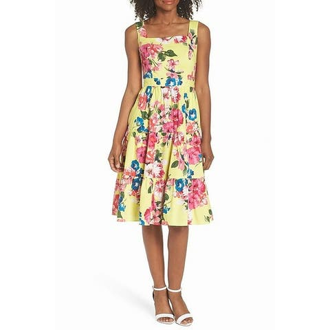 Eliza J Women's Floral Print Square Neck A-Line Dress
