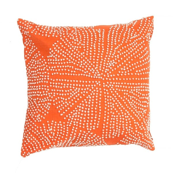 "18"" Ivory and Madarin Textured Orange Pattern Decorative Throw Pillow"