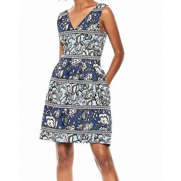 8f49ff4c Vince Camuto Blue Women's Size 6 Floral Print Pocket Sheath Dress