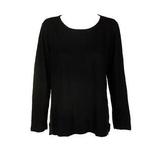Style & Co Black Cotton-Blend High-Low Long-Sleeve T-Shirt XL