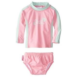 Banz BZ14-S2-PM-1 Baby Long Sleeve Rash Guard & Nappy Set, Pink