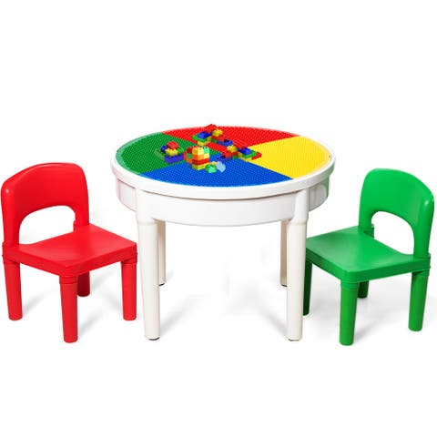 Costway 3 In 1 Kids Activity Table Set Water Craft Building Brick - 8.5''(L) X 8.5''(W) X 22.5''(H)