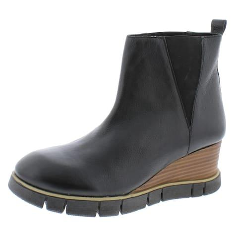 Diba True Womens Ball Room Wedge Boots Leather Ankle - Black - 11 Medium (B,M)