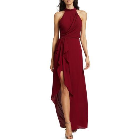 Halston Womens Sleeveless Mock Neck Drape Front Side Slit Column Gown 10 Cherry
