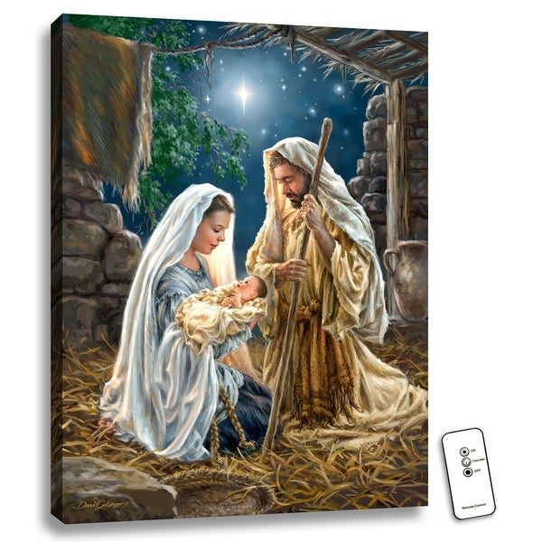 """24"""" x 18"""" Beige and White Holy Family Back-lit Wall Art with Remote Control - N/A"""