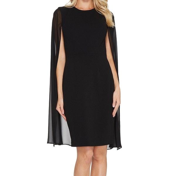 a706e0e65de4 Shop Calvin Klein Deep Black Women's Size 4 Chiffon Cape Sheath Dress -  Free Shipping Today - Overstock - 27382486