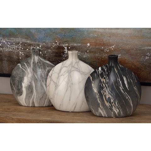 Black Stoneware Contemporary Vase (Set of 3)