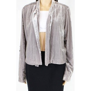 Link to Wayf Womens Jacket Steel Gray Size Large L Solid Velvet Tie-Neck Similar Items in Women's Outerwear