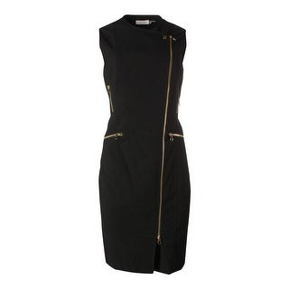 Calvin Klein Womens Asymmetric Sleeveless Wear to Work Dress