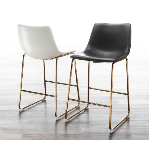Duke Contemporary Gold Counter Stool - Set of 2 - N/A