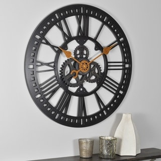 FirsTime & Co.® Roman Gear Wall Clock, American Crafted, Oil Rubbed Bronze, Plastic, 24 x 2 x 24 in - 24 x 2 x 24 in