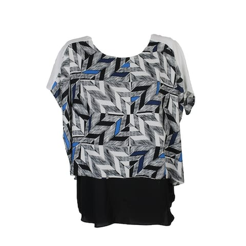 Alfani Plus Size Black Blue Printed Asymmetrical Top 16W