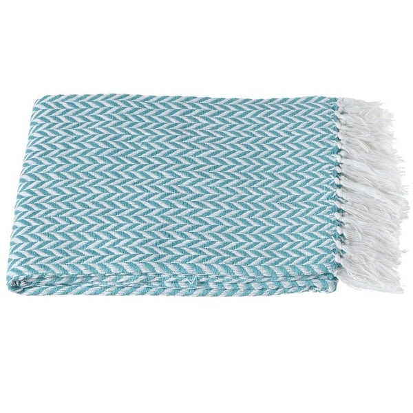 "Set of 2 Turquoise Blue and White Cotton Herringbone Fringe Throw Blankets 50"" x 60"""