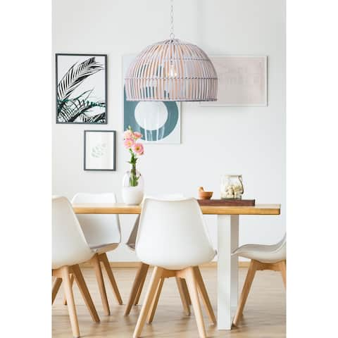 Luna 1-Light Pendant with White Bamboo Shade