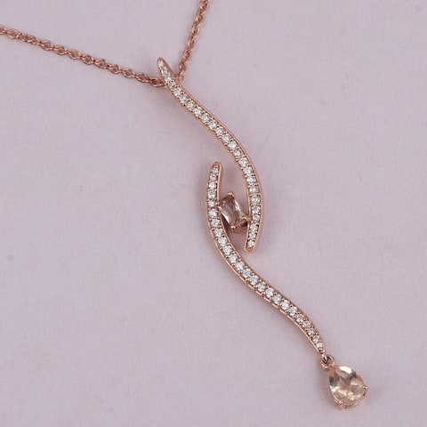 Morganite, Cubic Zirconia Sterling Silver Pear, Octagon Chain Pendant by Orchid Jewelry