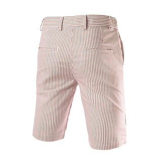 Unique Bargains Men Four Pockets Vertical Stripes Casual Chino Shorts