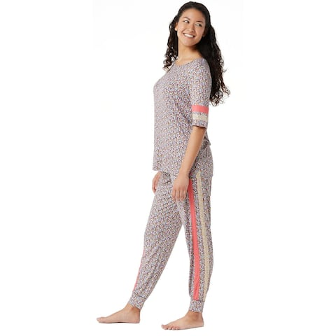Cuddl Duds Womens Smooth Jersey Print Mix Pajama Set Medium Coral Ditsy A346889