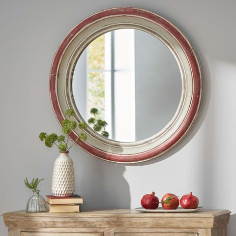 Camak Indoor Wood Round Mirror by Christopher Knight Home