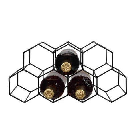 Honeycomb 9-Bottle Metal Wine Rack for Table Top or Counter Top Black - N/A