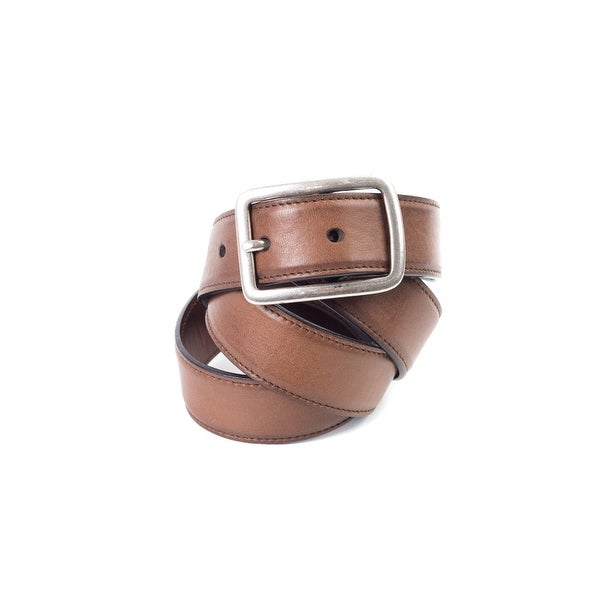 Brunello Cucinelli Tan Leather Silver Box-Frame Buckle Belt