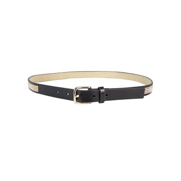 Style & Co. Women's Rhinestone Faux Leather Skinny Belt - Black