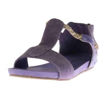 Australia Luxe Womens Azul Suede Braided T-Strap Sandals