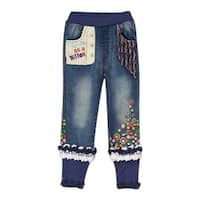 "Rock'nStyle Baby Girls Blue Trimmed ""Cute As a Button"" Denim Pants - 18-24 months"
