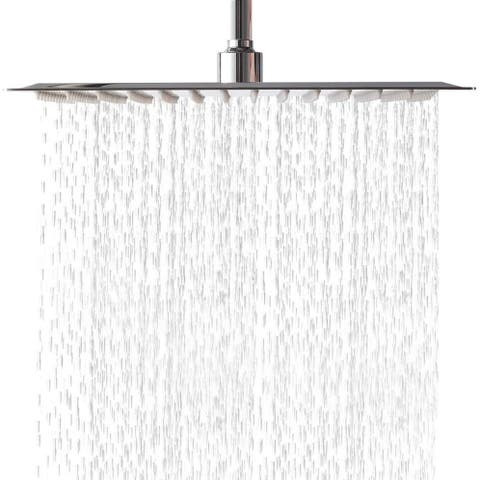 12 Inch Rainfall Shower Head Solid Square Ultra Thin Polish Chrome ,Waterfall Full Body with Silicone Nozzle