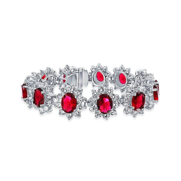0046d6dc71f6e7 Shop Crown Halo Red Oval CZ Statement Tennis Bracelet For Women For Prom  Imitation Ruby Cubic Zirconia Silver Plated Brass - On Sale - Free Shipping  Today ...