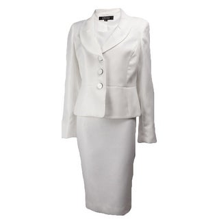 Kasper Women's Moon Dance Waffle Woven Jacket Dress Set - Off white - 4